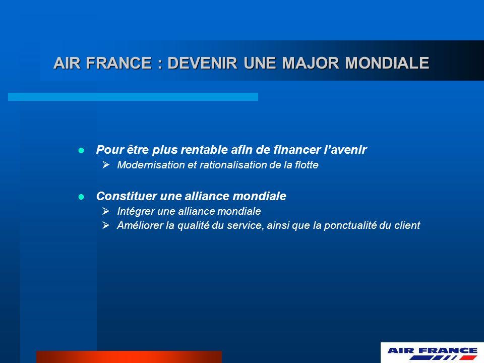AIR FRANCE : DEVENIR UNE MAJOR MONDIALE Pour être plus rentable afin de financer lavenir Modernisation et rationalisation de la flotte Constituer une