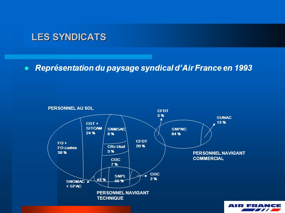 LES SYNDICATS Représentation du paysage syndical dAir France en 1993 PERSONNEL AU SOL PERSONNEL NAVIGANT COMMERCIAL PERSONNEL NAVIGANT TECHNIQUE FO +