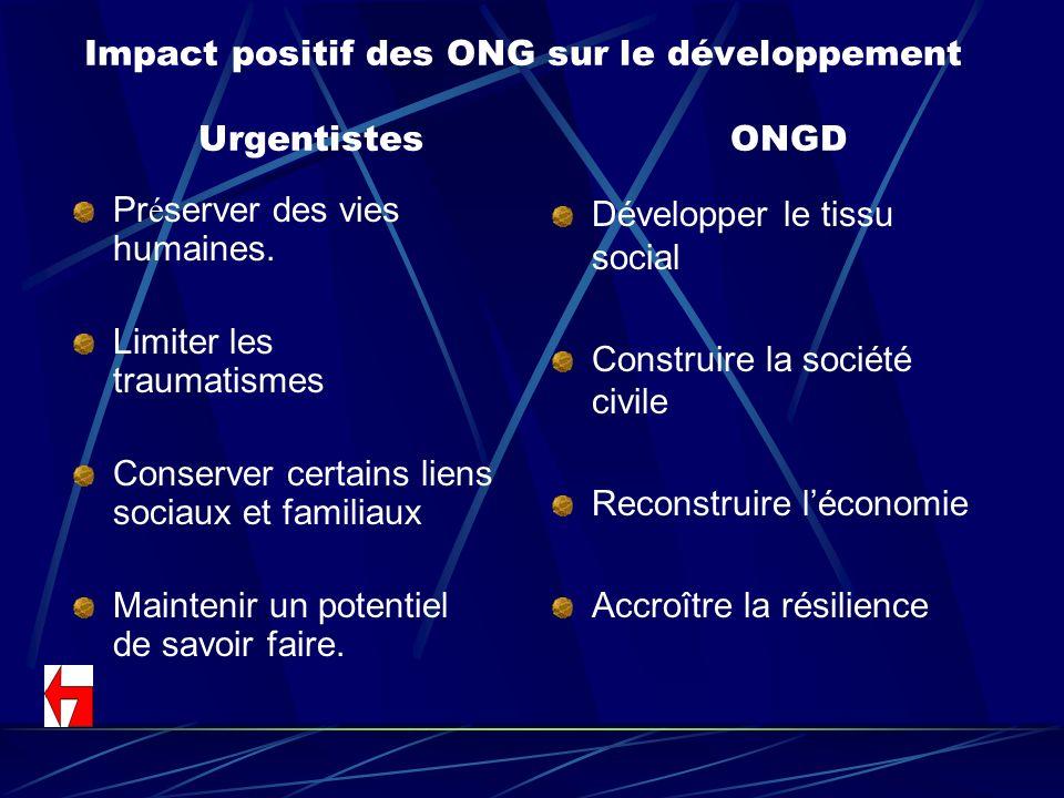 Impact positif des ONG sur le développement UrgentistesONGD Pr é server des vies humaines. Limiter les traumatismes Conserver certains liens sociaux e