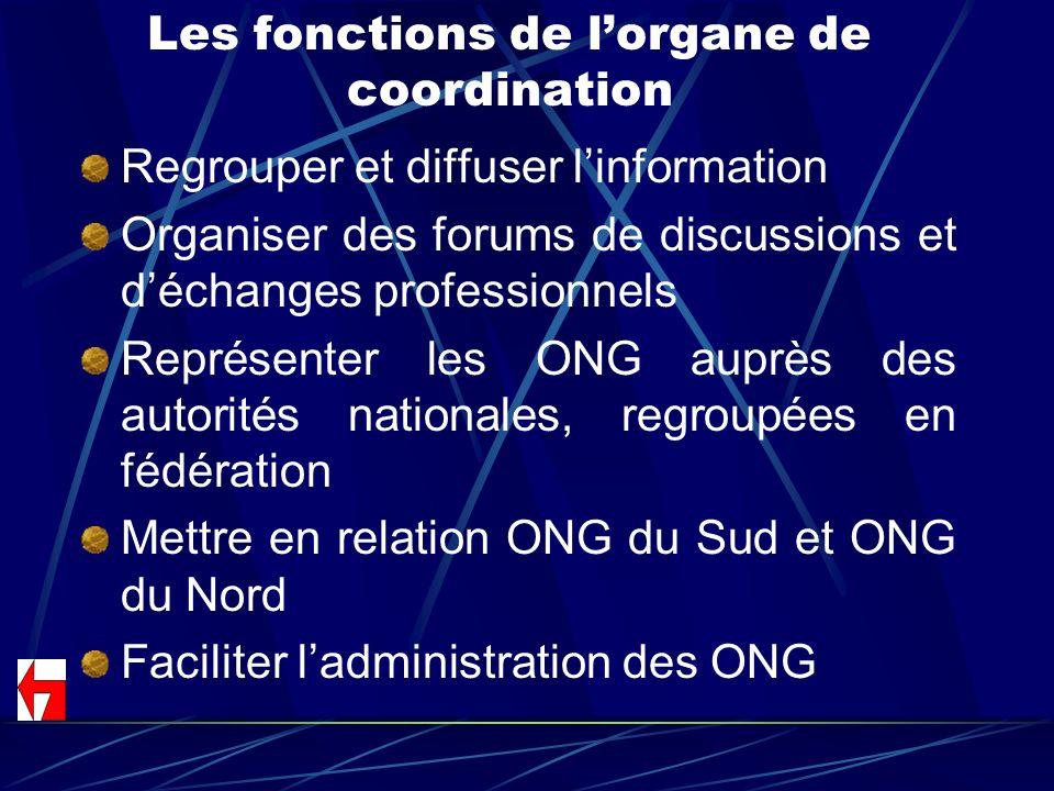 Les fonctions de lorgane de coordination Regrouper et diffuser linformation Organiser des forums de discussions et déchanges professionnels Représente