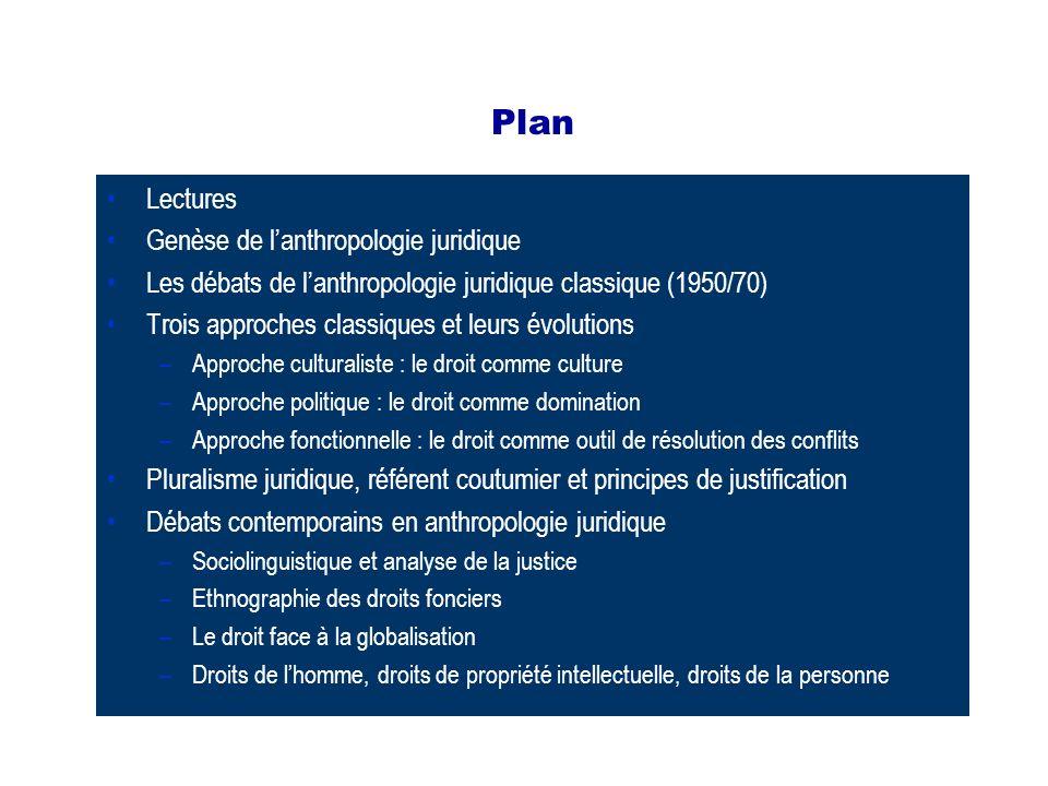 Plan Lectures Genèse de lanthropologie juridique Les débats de lanthropologie juridique classique (1950/70) Trois approches classiques et leurs évolut