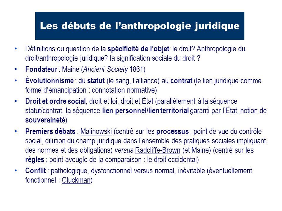 Les débuts de lanthropologie juridique Définitions ou question de la spécificité de lobjet : le droit? Anthropologie du droit/anthropologie juridique?