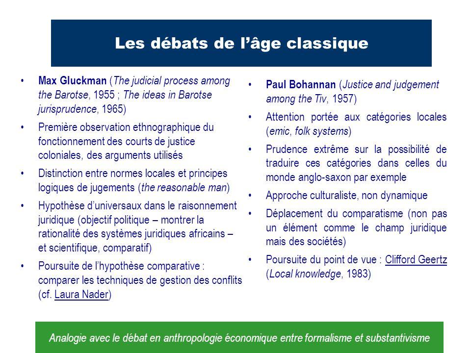 Les débats de lâge classique Max Gluckman ( The judicial process among the Barotse, 1955 ; The ideas in Barotse jurisprudence, 1965) Première observat