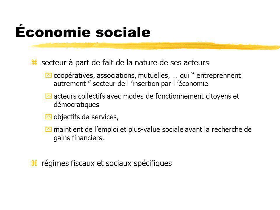 Économie sociale z circuits particuliers : yfinances solidaires, yréseaux dappui par type de structures, y clientèle développée autour de services nouveaux.