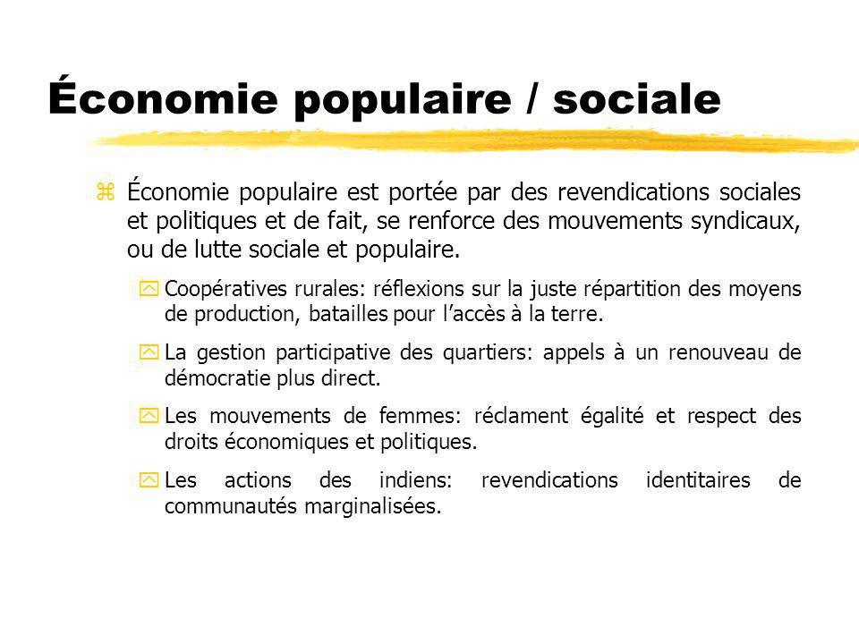 z Économie populaire est portée par des revendications sociales et politiques et de fait, se renforce des mouvements syndicaux, ou de lutte sociale et populaire.