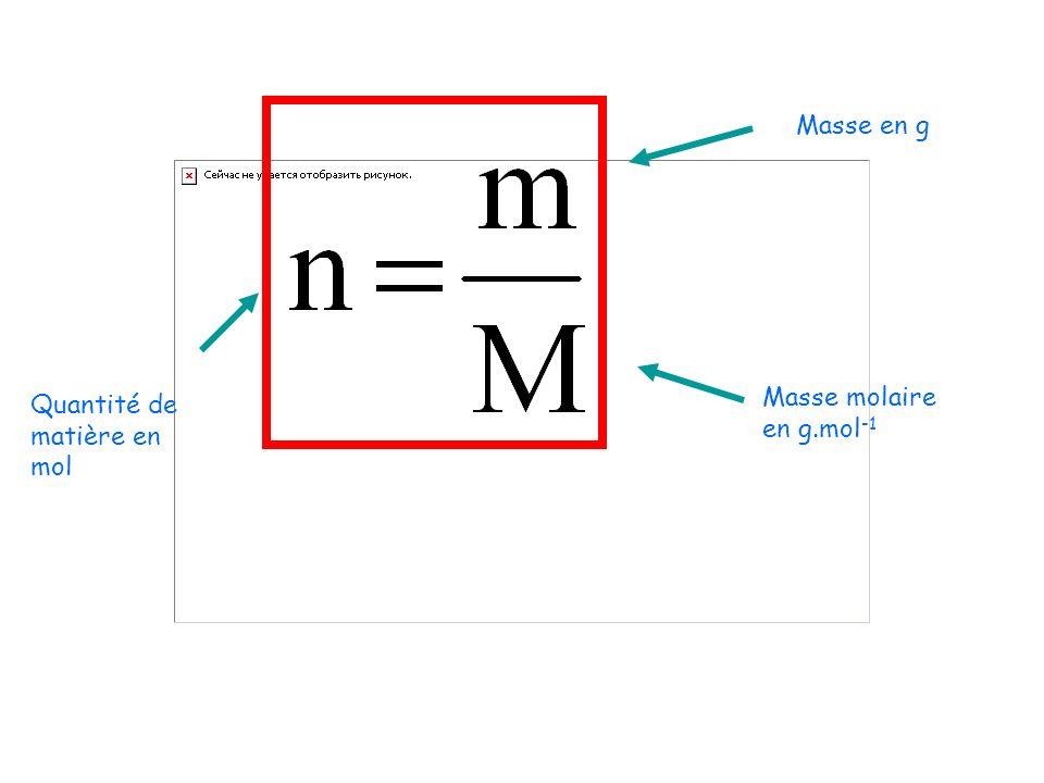 Masse en g Masse molaire en g.mol -1 Quantité de matière en mol