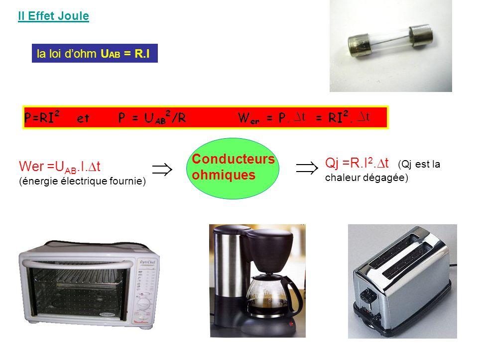 II Effet Joule la loi dohm U AB = R.I Qj =R.I 2. t (Qj est la chaleur dégagée) Wer =U AB.I. t (énergie électrique fournie) Conducteurs ohmiques