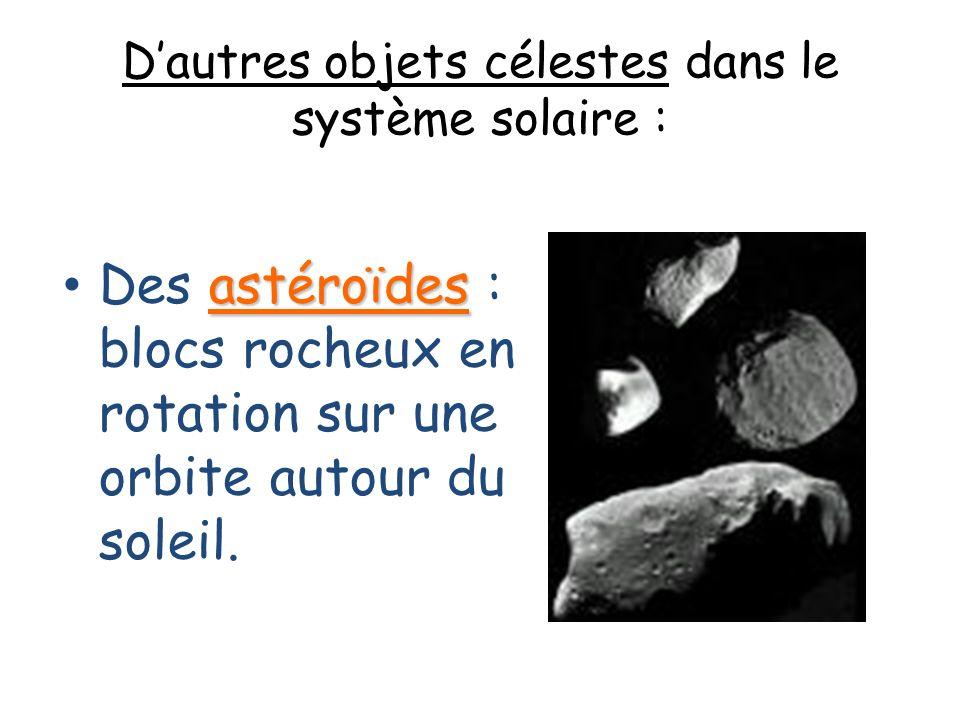 Dautres objets célestes dans le système solaire : astéroïdes Des astéroïdes : blocs rocheux en rotation sur une orbite autour du soleil.