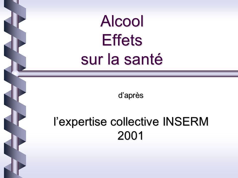 Alcool Effets sur la santé daprès lexpertise collective INSERM 2001