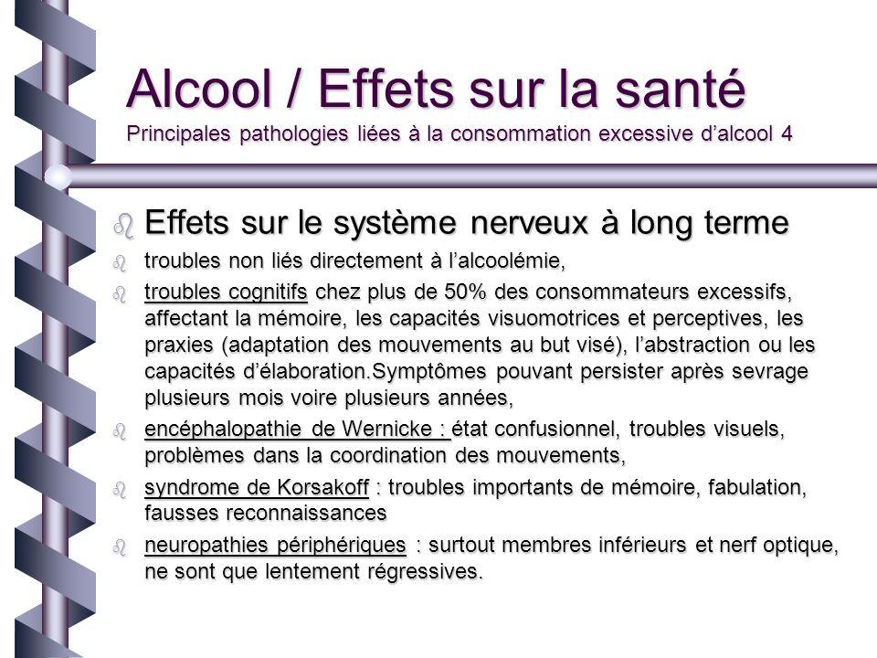 Alcool / Effets sur la santé Principales pathologies liées à la consommation excessive dalcool 4 Effets sur le système nerveux à long terme Effets sur