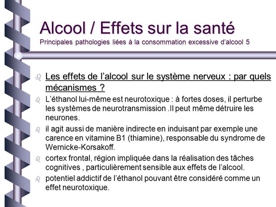 Alcool / Effets sur la santé Principales pathologies liées à la consommation excessive dalcool 5 Les effets de lalcool sur le système nerveux : par qu