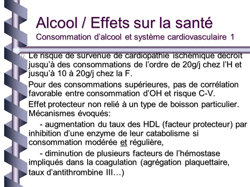 Alcool / Effets sur la santé Consommation dalcool et système cardiovasculaire 1 Le risque de survenue de cardiopathie ischémique décroît jusquà des co