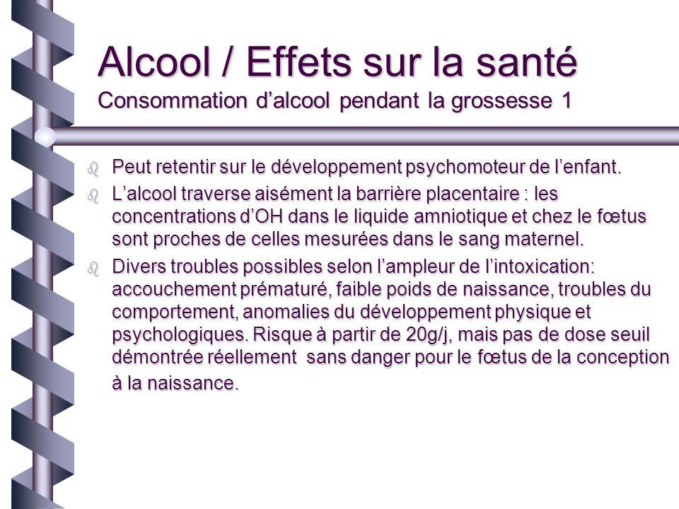 Alcool / Effets sur la santé Consommation dalcool pendant la grossesse 1 Peut retentir sur le développement psychomoteur de lenfant. Peut retentir sur