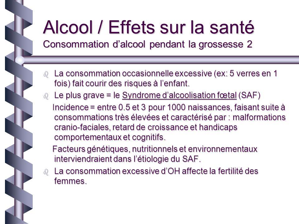 Alcool / Effets sur la santé Consommation dalcool pendant la grossesse 2 La consommation occasionnelle excessive (ex: 5 verres en 1 fois) fait courir