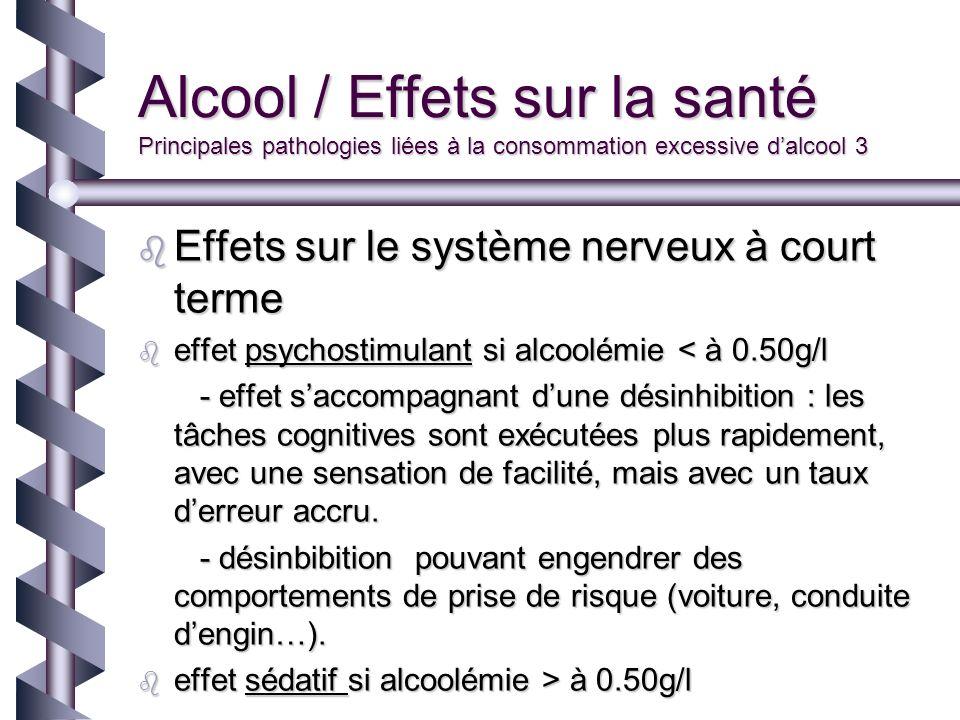Alcool / Effets sur la santé Principales pathologies liées à la consommation excessive dalcool 3 Effets sur le système nerveux à court terme Effets su