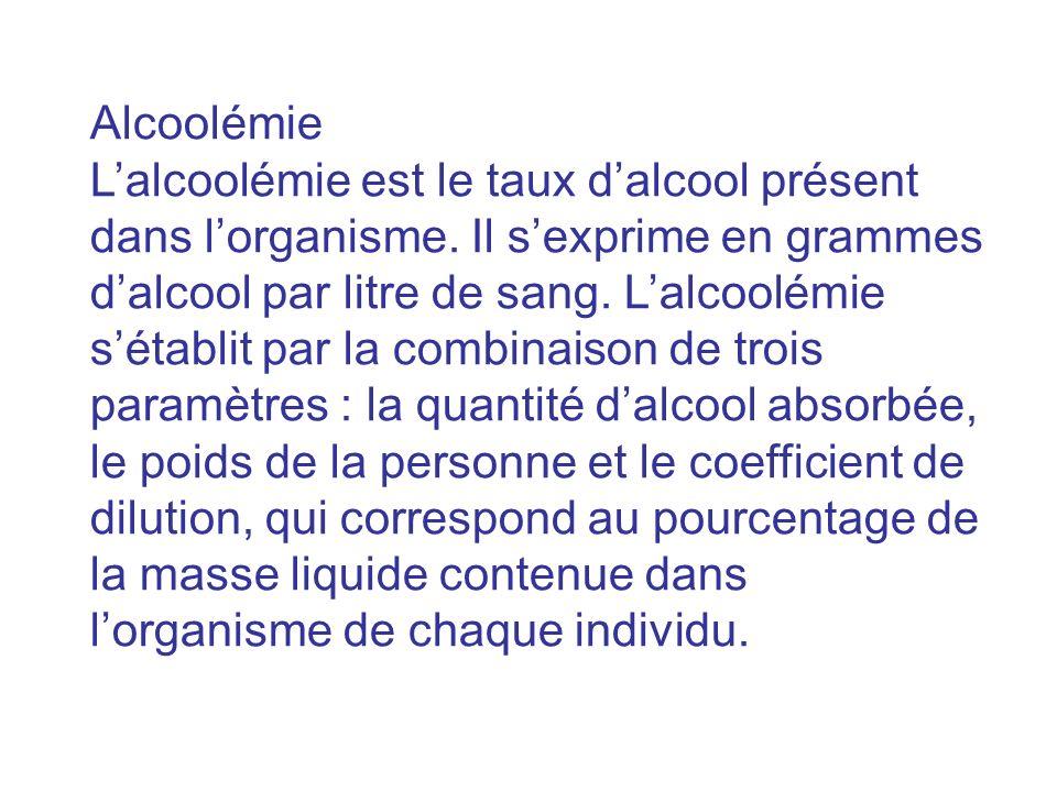 Alcoolémie Lalcoolémie est le taux dalcool présent dans lorganisme. Il sexprime en grammes dalcool par litre de sang. Lalcoolémie sétablit par la comb