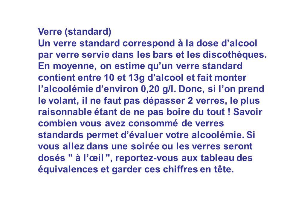 Verre (standard) Un verre standard correspond à la dose dalcool par verre servie dans les bars et les discothèques. En moyenne, on estime quun verre s