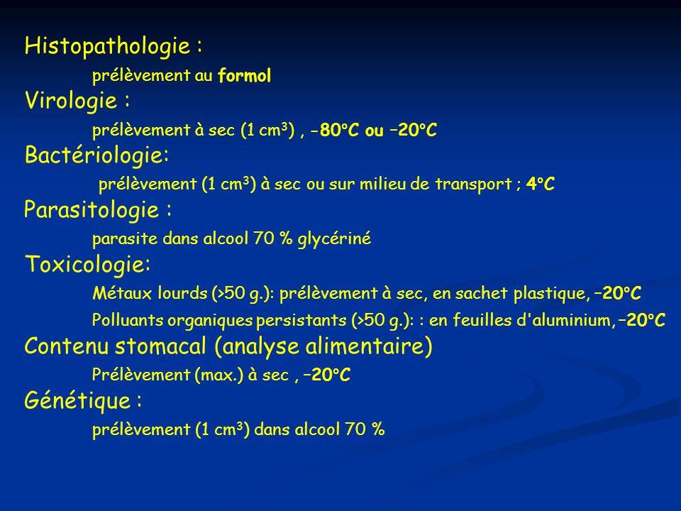 Histopathologie : prélèvement au formol Virologie : prélèvement à sec (1 cm 3 ), -80°C ou –20°C Bactériologie: prélèvement (1 cm 3 ) à sec ou sur mili