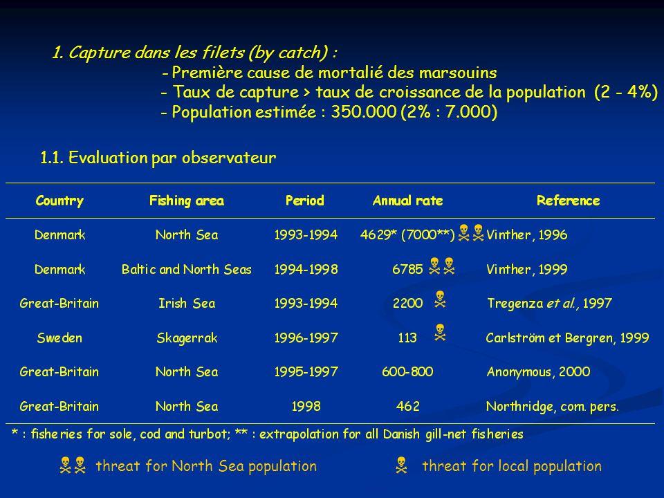 1. Capture dans les filets (by catch) : - Première cause de mortalié des marsouins - Taux de capture > taux de croissance de la population (2 - 4%) -