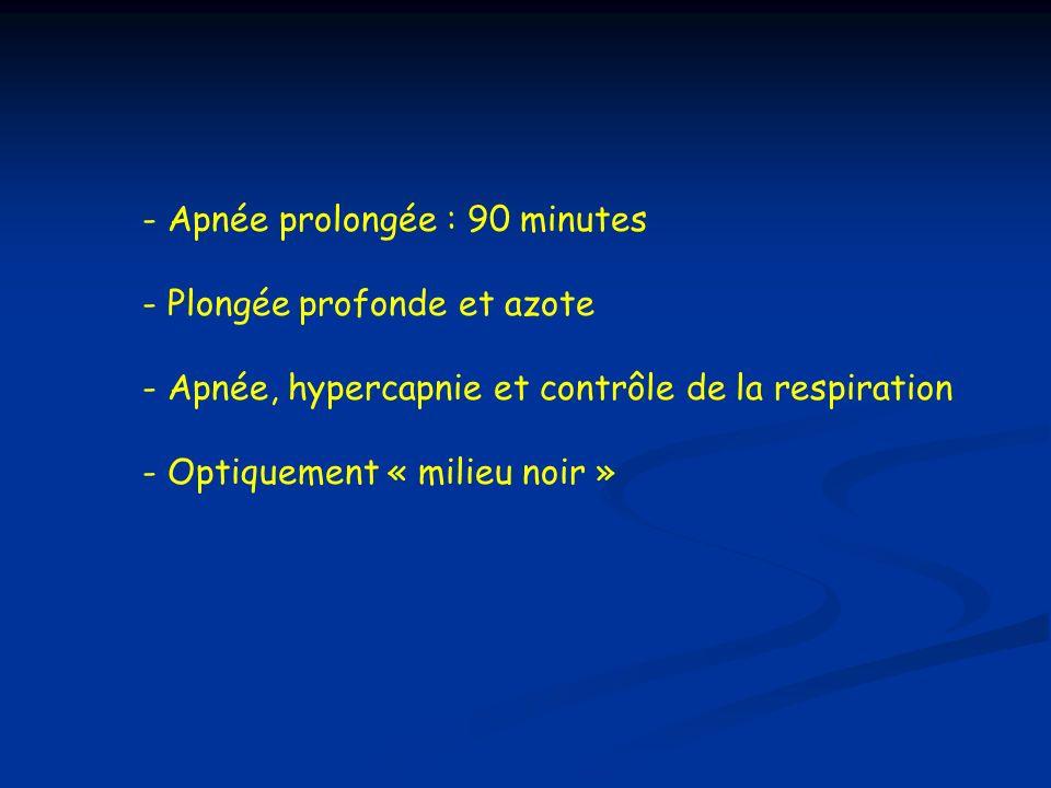 - Apnée prolongée : 90 minutes - Plongée profonde et azote - Apnée, hypercapnie et contrôle de la respiration - Optiquement « milieu noir »