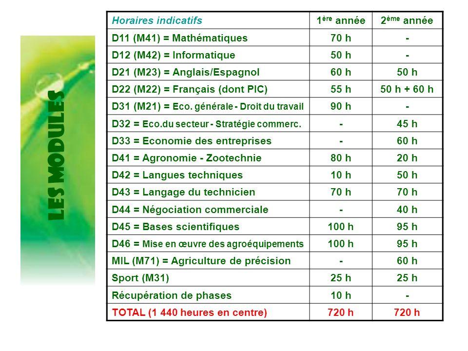 LES MODULES Horaires indicatifs1 ère année2 ème année D11 (M41) = Mathématiques70 h- D12 (M42) = Informatique50 h- D21 (M23) = Anglais/Espagnol60 h50
