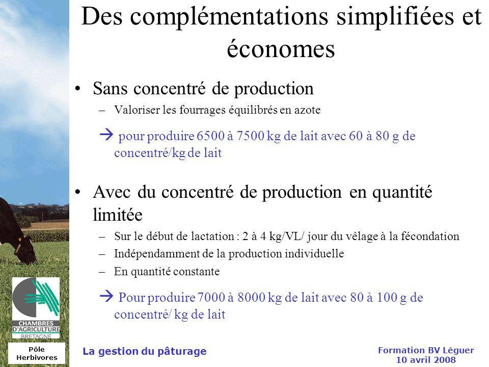 Pôle Herbivores Formation BV Léguer 10 avril 2008 La gestion du pâturage Des complémentations simplifiées et économes Sans concentré de production –Va