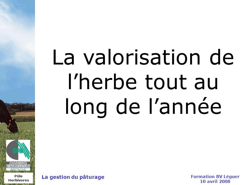Pôle Herbivores Formation BV Léguer 10 avril 2008 La gestion du pâturage La valorisation de lherbe tout au long de lannée