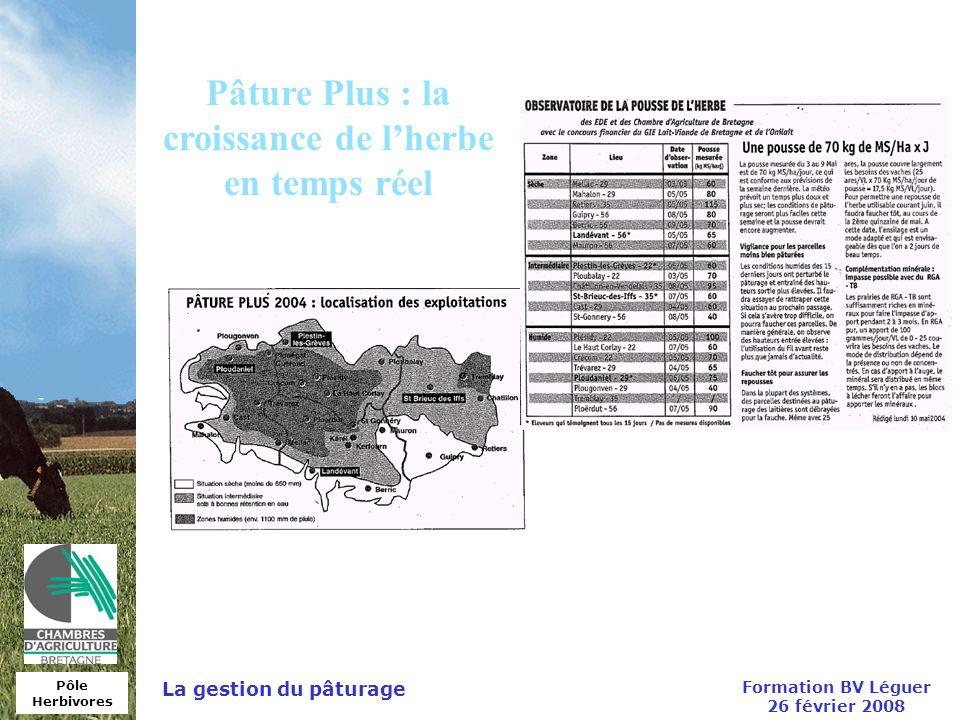 Pôle Herbivores Formation BV Léguer 26 février 2008 La gestion du pâturage Pâture Plus : la croissance de lherbe en temps réel