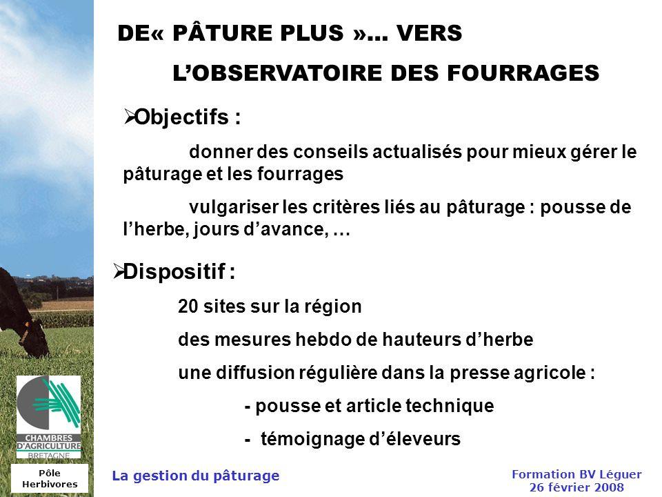 Pôle Herbivores Formation BV Léguer 26 février 2008 La gestion du pâturage DE« PÂTURE PLUS »… VERS LOBSERVATOIRE DES FOURRAGES Objectifs : donner des
