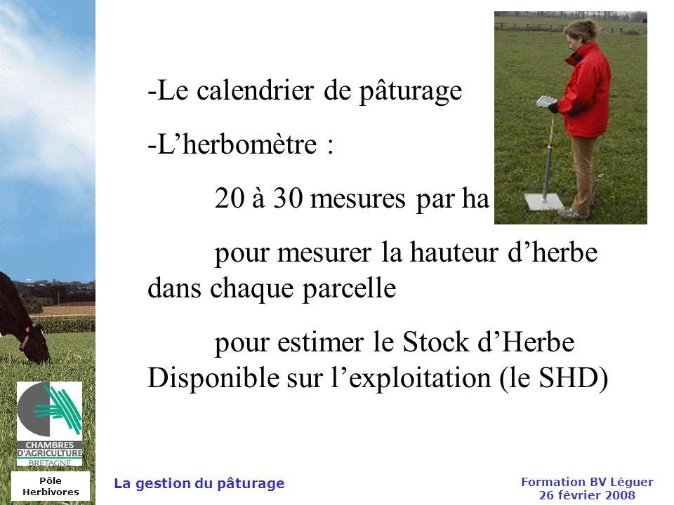 Pôle Herbivores Formation BV Léguer 26 février 2008 La gestion du pâturage -Le calendrier de pâturage -Lherbomètre : 20 à 30 mesures par ha pour mesur