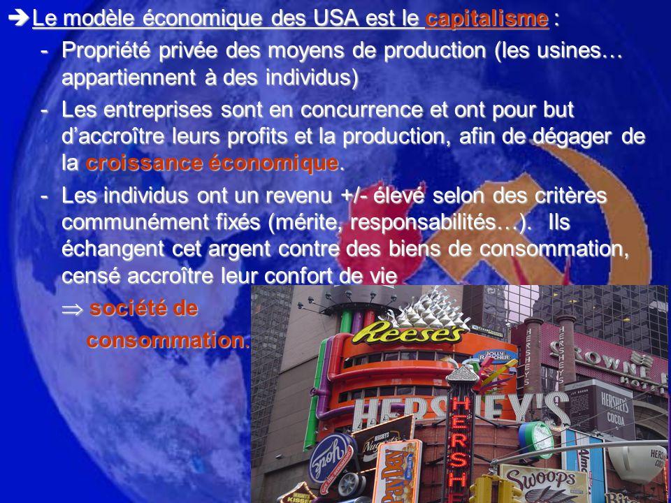 Le modèle économique des USA est le capitalisme : Le modèle économique des USA est le capitalisme : -Propriété privée des moyens de production (les us