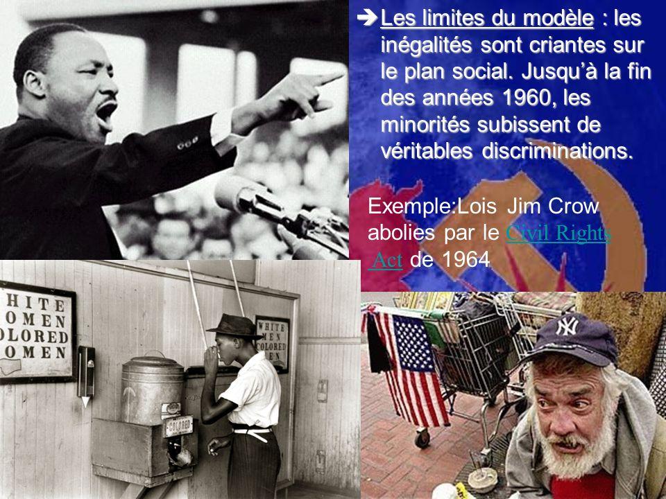 Les limites du modèle : les inégalités sont criantes sur le plan social. Jusquà la fin des années 1960, les minorités subissent de véritables discrimi