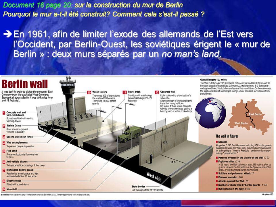 Document 16 page 20: sur la construction du mur de Berlin Pourquoi le mur a-t-il été construit? Comment cela sest-il passé ? En 1961, afin de limiter