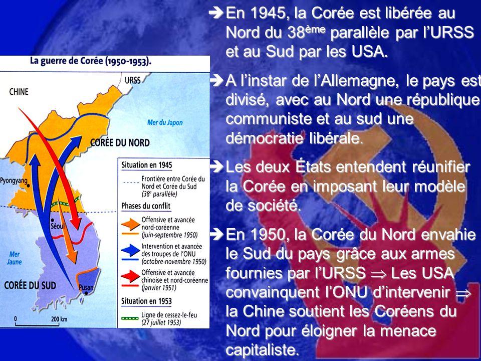 En 1945, la Corée est libérée au Nord du 38 ème parallèle par lURSS et au Sud par les USA. En 1945, la Corée est libérée au Nord du 38 ème parallèle p