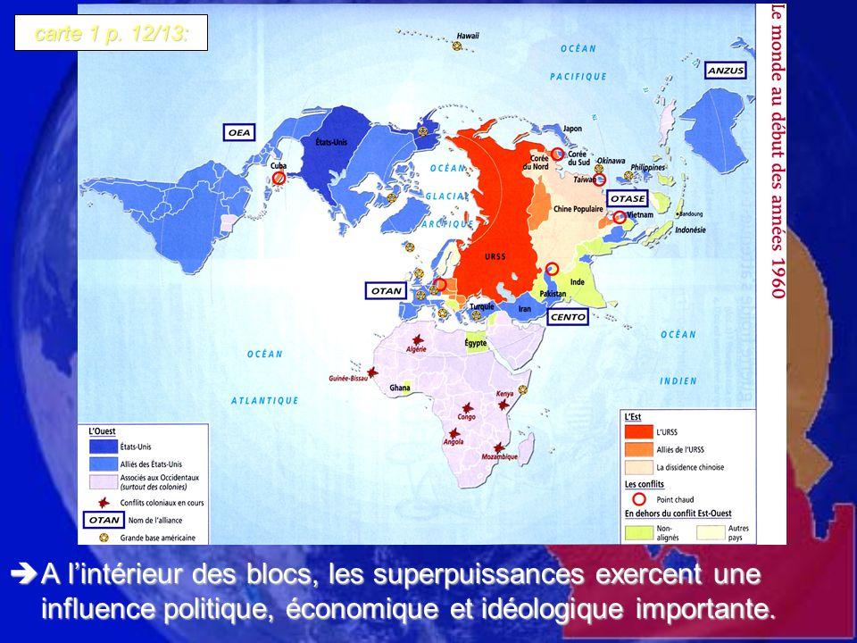 A lintérieur des blocs, les superpuissances exercent une influence politique, économique et idéologique importante. A lintérieur des blocs, les superp