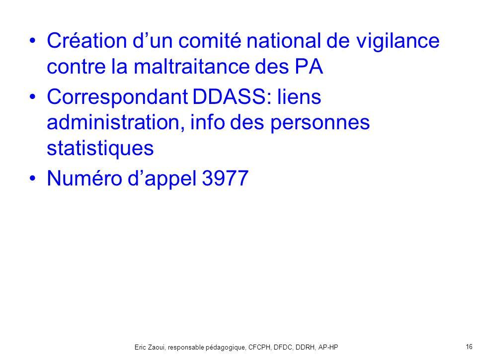 Eric Zaoui, responsable pédagogique, CFCPH, DFDC, DDRH, AP-HP 16 Création dun comité national de vigilance contre la maltraitance des PA Correspondant