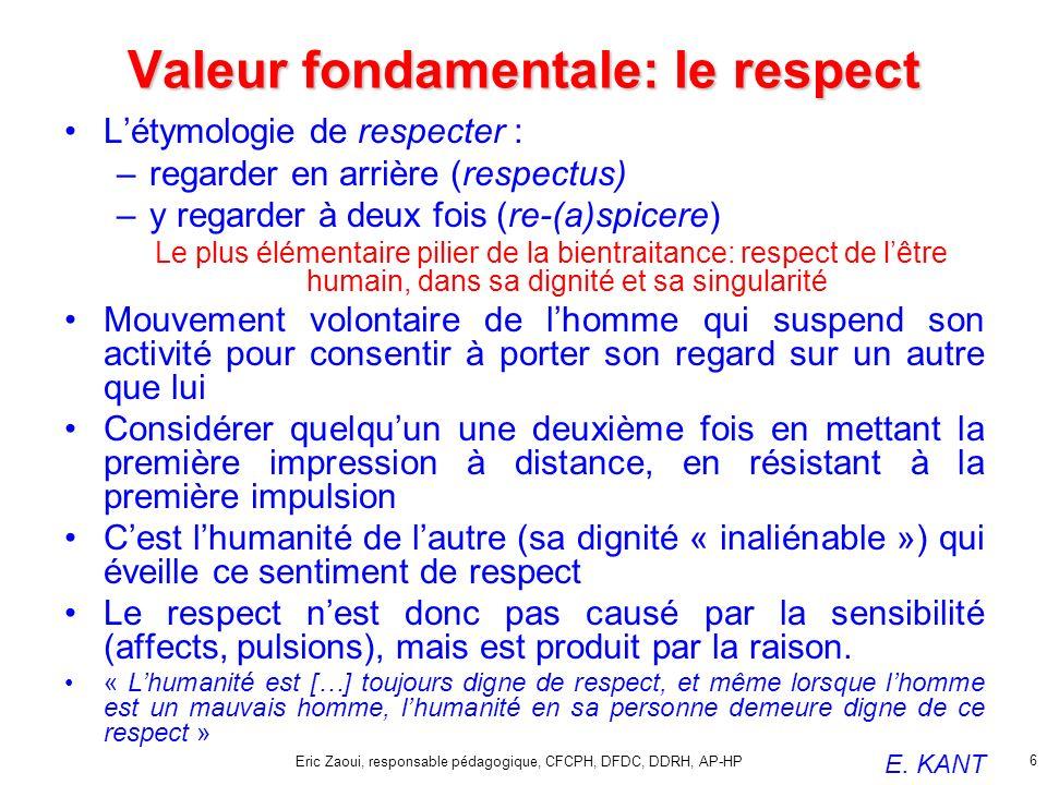 Eric Zaoui, responsable pédagogique, CFCPH, DFDC, DDRH, AP-HP 6 Valeur fondamentale: le respect Létymologie de respecter : –regarder en arrière (respe