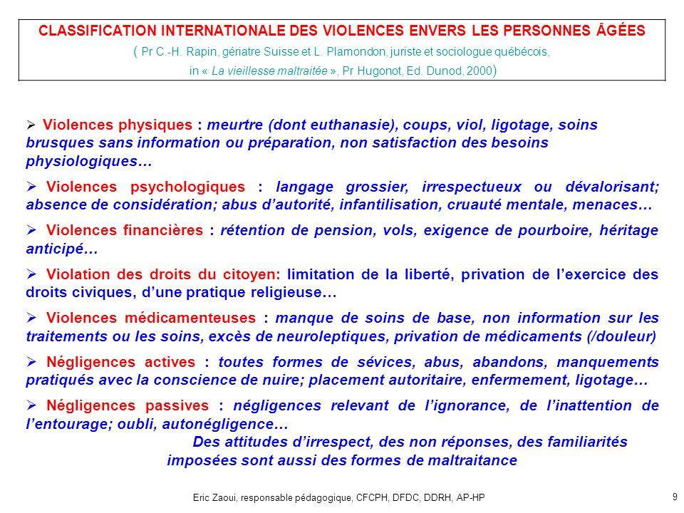 Eric Zaoui, responsable pédagogique, CFCPH, DFDC, DDRH, AP-HP 9 Violences physiques : meurtre (dont euthanasie), coups, viol, ligotage, soins brusques