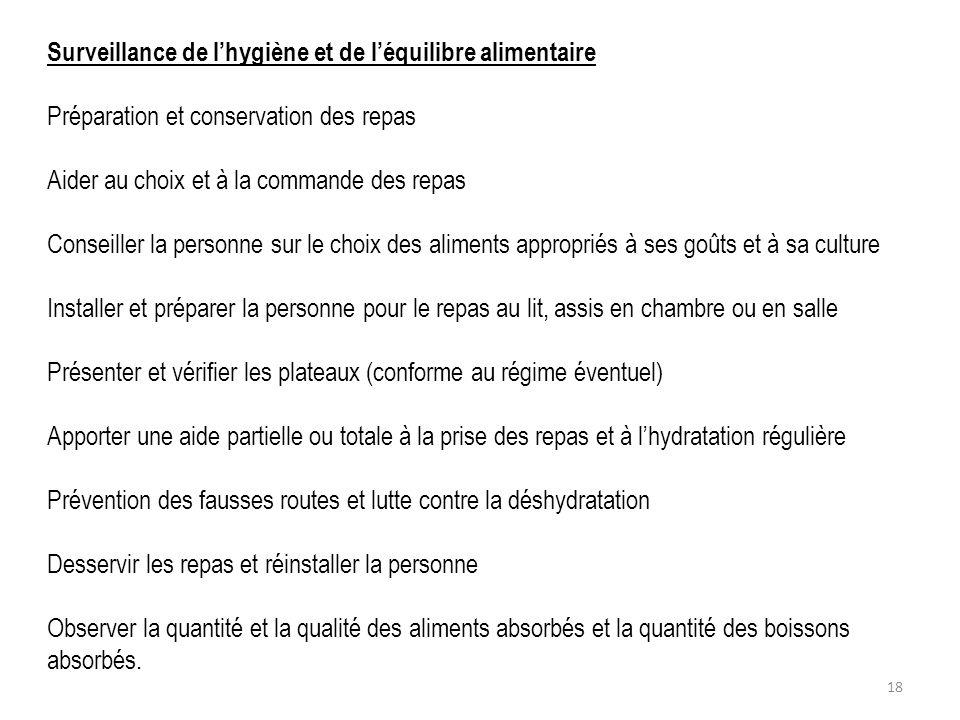 Surveillance de lhygiène et de léquilibre alimentaire Préparation et conservation des repas Aider au choix et à la commande des repas Conseiller la pe