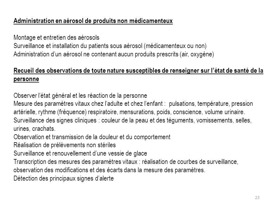 Administration en aérosol de produits non médicamenteux Montage et entretien des aérosols Surveillance et installation du patients sous aérosol (médic