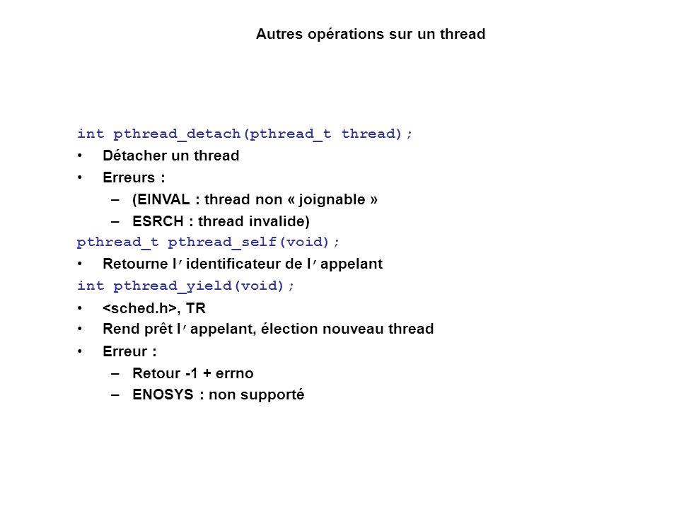 Autres opérations sur un thread int pthread_detach(pthread_t thread); Détacher un thread Erreurs : –(EINVAL : thread non « joignable » –ESRCH : thread invalide) pthread_t pthread_self(void); Retourne l identificateur de l appelant int pthread_yield(void);, TR Rend prêt l appelant, élection nouveau thread Erreur : –Retour -1 + errno –ENOSYS : non supporté