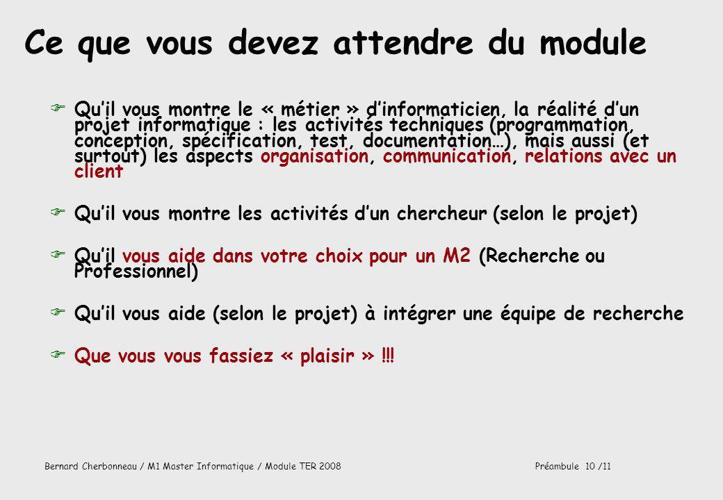 Bernard Cherbonneau / M1 Master Informatique / Module TER 2008Préambule 10 /11 Ce que vous devez attendre du module FQuil vous montre le « métier » di