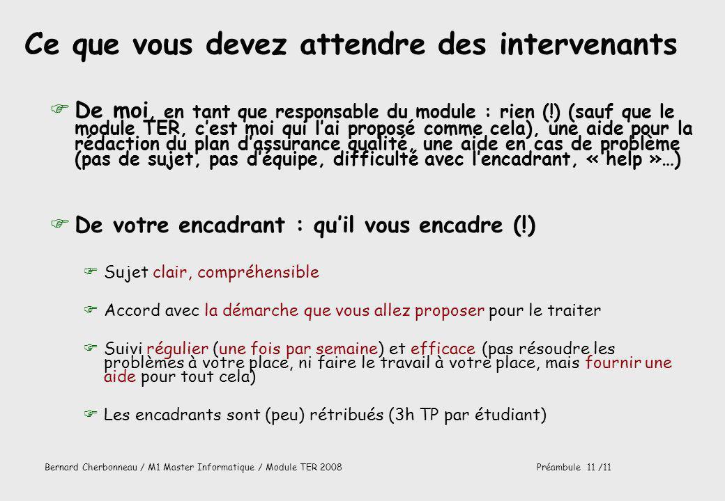 Bernard Cherbonneau / M1 Master Informatique / Module TER 2008Préambule 11 /11 Ce que vous devez attendre des intervenants FDe moi, en tant que respon
