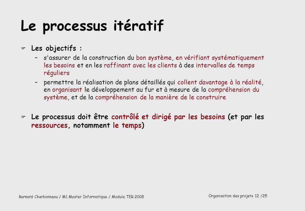 Organisation des projets 13 /25 Bernard Cherbonneau / M1 Master Informatique / Module TER 2008 Une itération Itération 1 Itération 3 Itération 2 Plan de développement Spec.