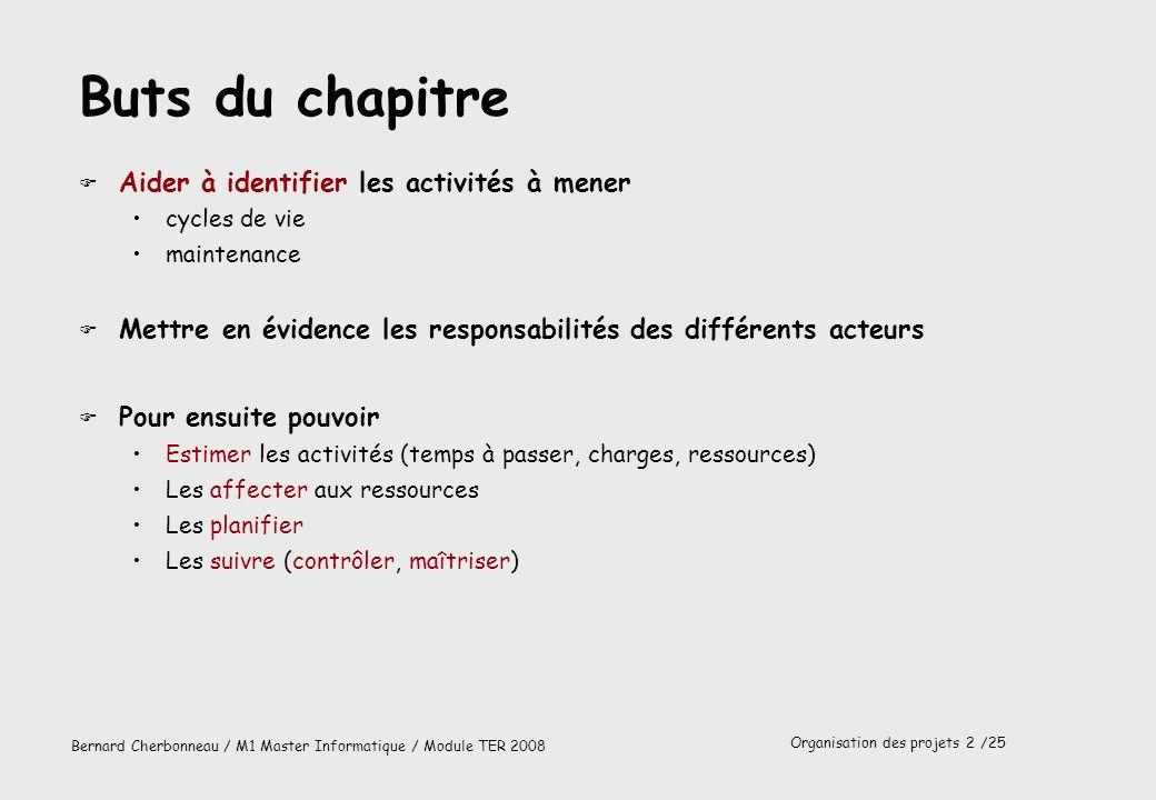 Organisation des projets 3 /25 Bernard Cherbonneau / M1 Master Informatique / Module TER 2008 Identification des activités Cycle de vie (réalisation)