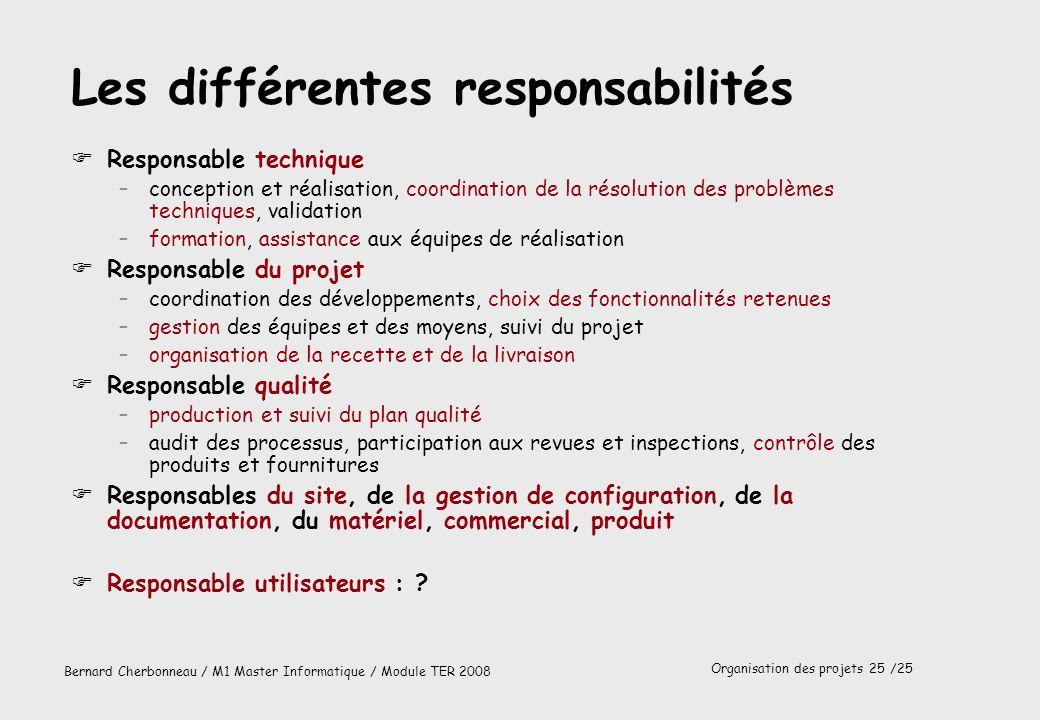 Organisation des projets 25 /25 Bernard Cherbonneau / M1 Master Informatique / Module TER 2008 Les différentes responsabilités FResponsable technique