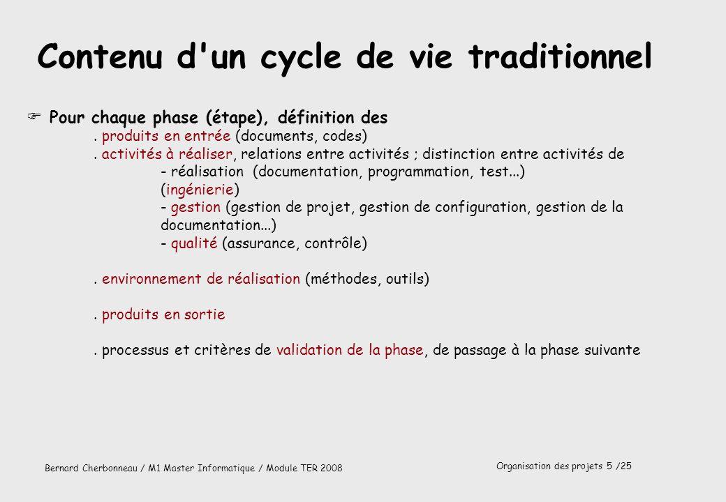 Organisation des projets 6 /25 Bernard Cherbonneau / M1 Master Informatique / Module TER 2008