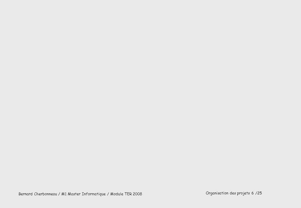 Organisation des projets 7 /25 Bernard Cherbonneau / M1 Master Informatique / Module TER 2008 Cycle de réalisation en V (AFNOR 87) Spécification Conception préliminaire Conception détaillée Codage Tests unitaires Intégration Validation