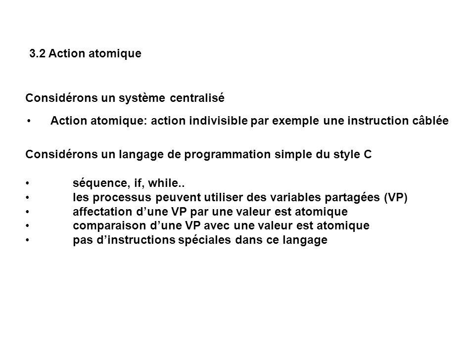 3.3 Protocoles dexclusion mutuelle Nous allons construire un protocole de l exclusion mutuelle entre deux processus.