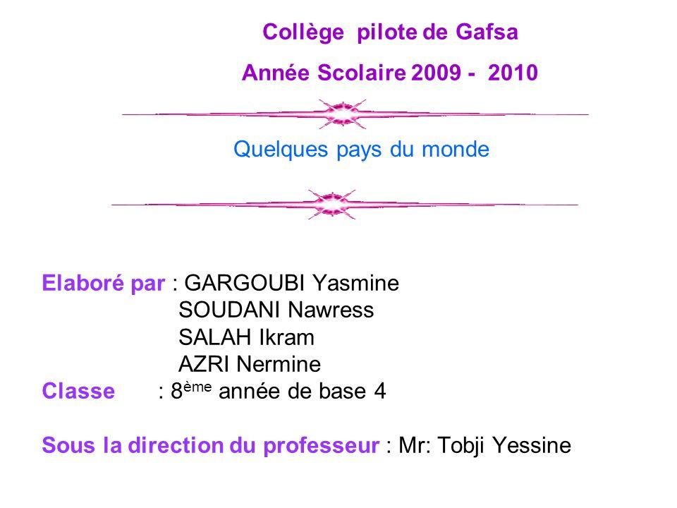 Elaboré par : GARGOUBI Yasmine SOUDANI Nawress SALAH Ikram AZRI Nermine Classe : 8 ème année de base 4 Sous la direction du professeur : Mr: Tobji Yes